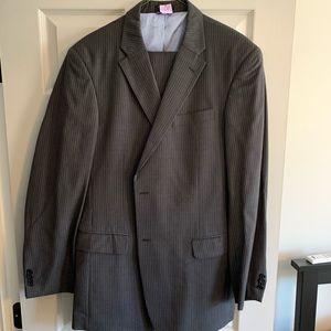 Gray pinstripe suit
